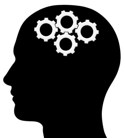 steel head: A graphic of a male head silhouette with gears. Problem solving process. Isolated on a solid white background.