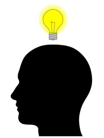 A graphic of a male head silhouette with a glowing yellow light bulb overhead. Isolated on a solid white background. photo