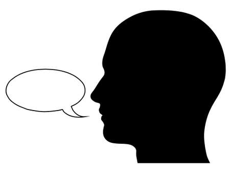 side view: A graphic of a male head silhouette with a speech bubble. Isolated on a solid white background.