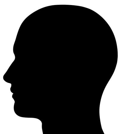 forehead: A render of a male head silhouette. Isolated on a solid white background. Stock Photo