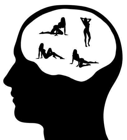 Un gráfico de un hombre con la mujer sexy en su mente. Aislado en un fondo blanco sólido. Foto de archivo - 12285733