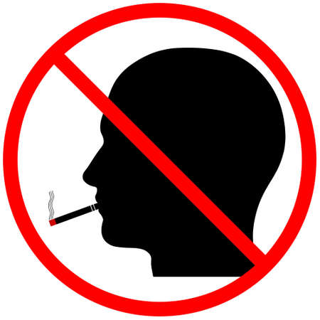 posted: A graphic warning that smoking is prohibited, isolated on a solid white background