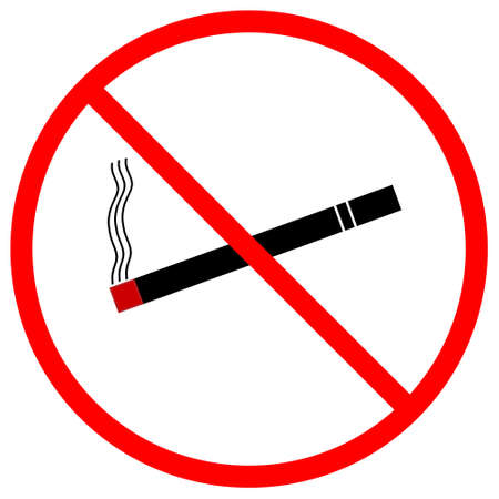 A graphic warning that smoking is prohibited, isolated on a solid white background