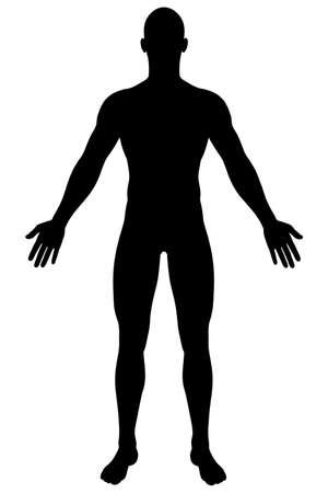 A renderiza��o de uma silhueta masculina Isolado em um fundo branco s�lido Banco de Imagens