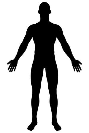 A render of a male silhouette  Isolated on a solid white background  Standard-Bild