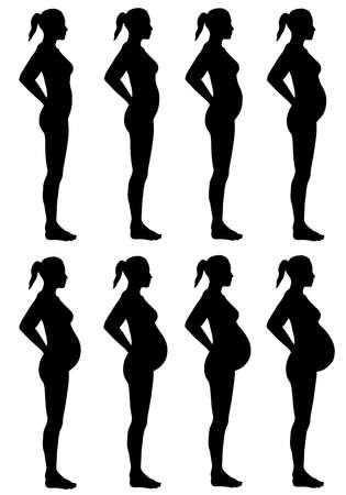 A side view illustration of 8 female silhouette Standard-Bild