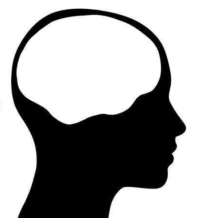 cerebro blanco y negro: Un gráfico de una silueta de la cabeza femenina con un área del cerebro blanco aislado en un fondo blanco sólido