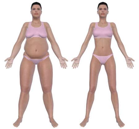 Antes e depois de ilustra��o vista frontal de uma mulher com excesso de peso e uma f�mea de peso saud�vel ap�s a dieta e exerc�cio isolado em um fundo branco s�lido Banco de Imagens