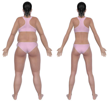 Antes e depois de ilustra��o retrovisor de uma mulher com excesso de peso e uma f�mea de peso saud�vel ap�s a dieta e exerc�cio isolado em um fundo branco s�lido