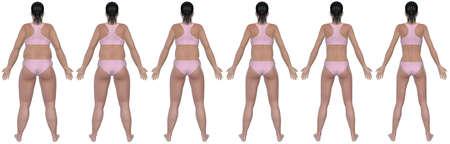 donne obese: Una illustrazione vista posteriore di una donna obesa Archivio Fotografico