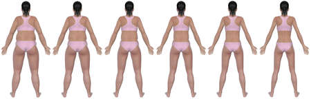 A rear view illustration of a obese woman