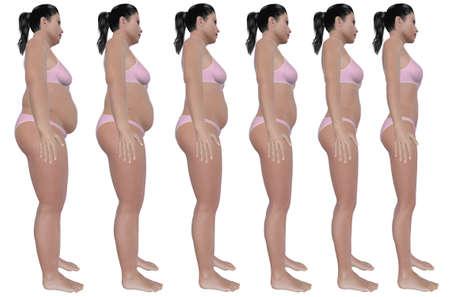 Een zijaanzicht illustratie van een zwaarlijvige vrouw