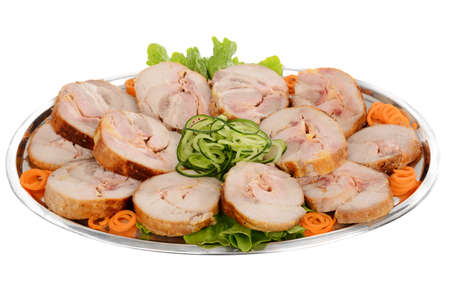 Stuffed roll pork. Decorated catering food Stock Photo