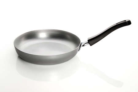 Silver empty frying pan isolated on white background Stock Photo