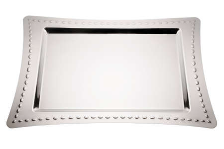 Stainless tray on white background. Empty serving tray. Archivio Fotografico
