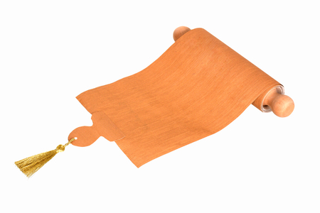 Ancient scroll parchment with wooden handle and tassel, isolated Banque d'images