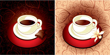 Cup of coffee vanilla and chocolate  Vector