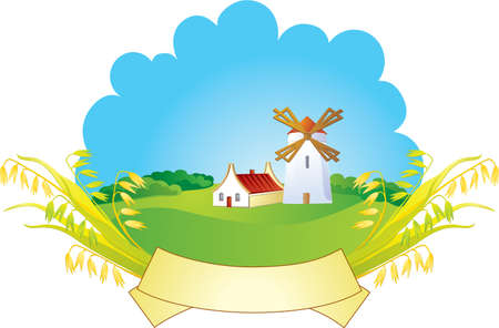 Small village with windmill