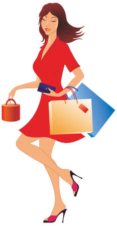 Shopping girl with purchases Vector
