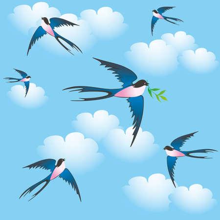 flying bird, seamless background
