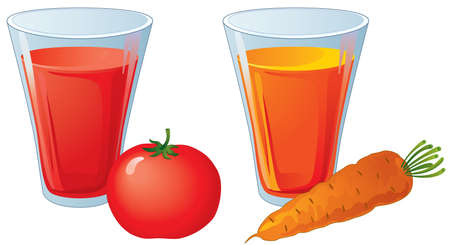 Glasses of carrot and tomato juice