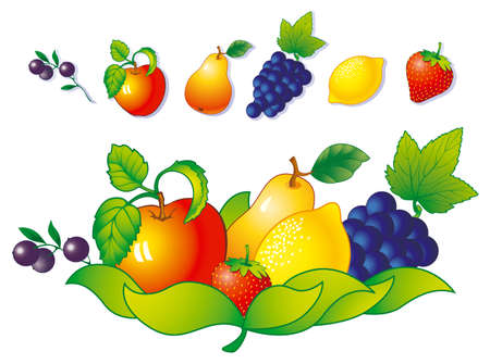 Sweet ripe fruits and berries. Illustration