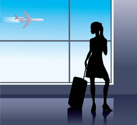 luggage airport: Girl with baggage in airport Illustration