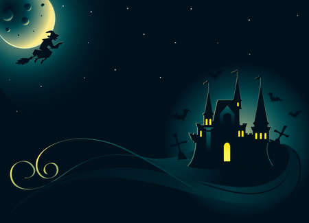 Halloween card with witch and castle  Vector