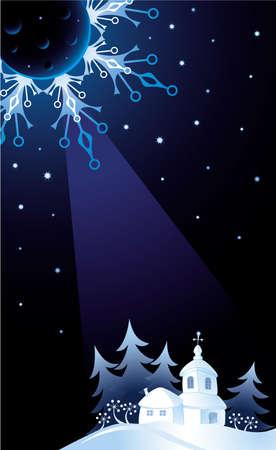 Decorative card with winter church at Christmas Eve Ilustração