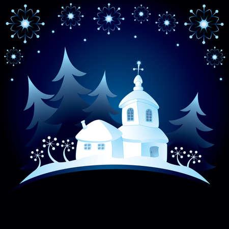 evening church: Decorative Christmas card