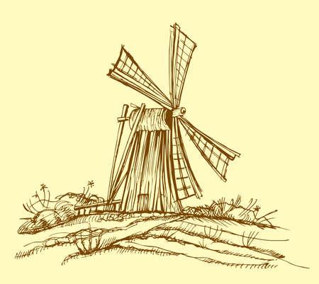 olanda: Vecchio mulino a vento Vettoriali