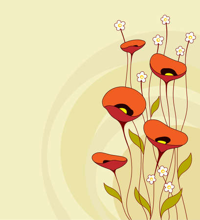 poppy flower: Retro background with flowers