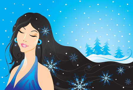snow storm: Winter beauty girl Illustration