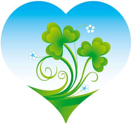 Decorative heart with shamrock Ilustração