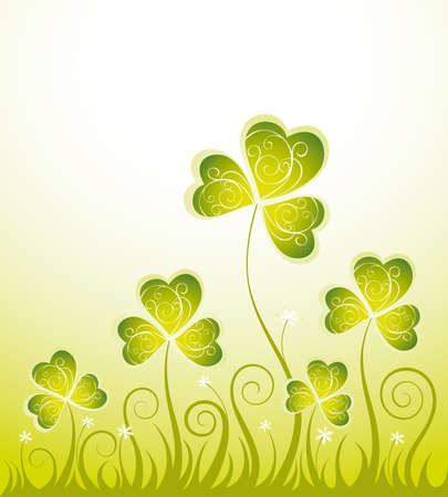 Patrick floral background with shamrock Stock Vector - 11917628