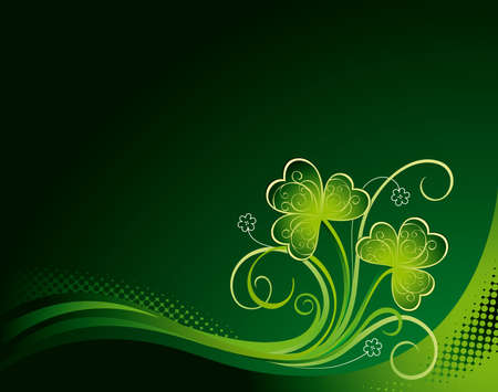 Patrick floral background with shamrock