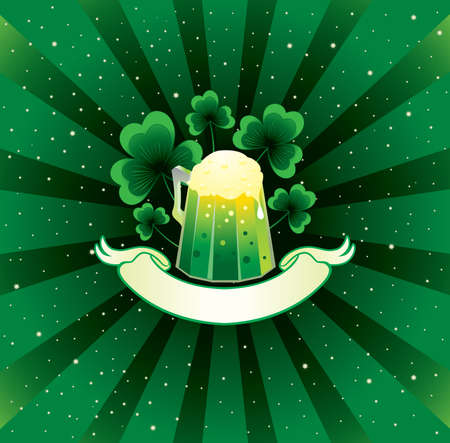 Patrick background with beer and shamrock  Vector