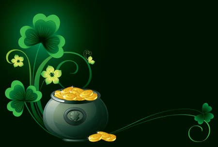 Patrick background with pot, coins and shamrock  Vector