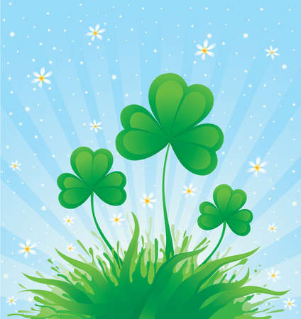 Patrick spring background with shamrock  Vector