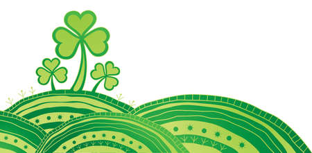 Ornate Patrick card with shamrock  Vector