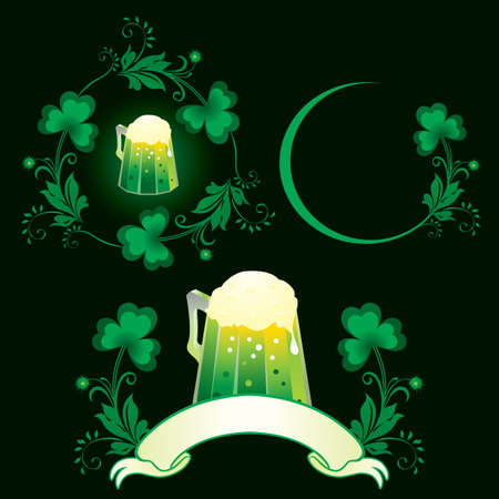 St. Patrick day set with green beer  Illustration