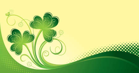 Decorative St. Patrick day card with trefoil  Vector