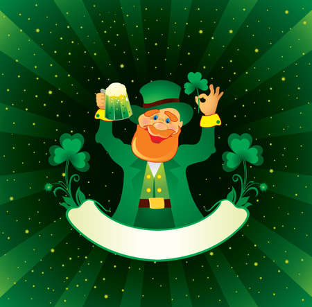 St. Patrick with green beer and shamrock  Vector