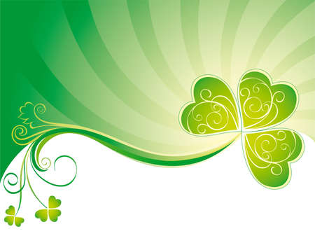 Patricks decorative background with clover  Vector