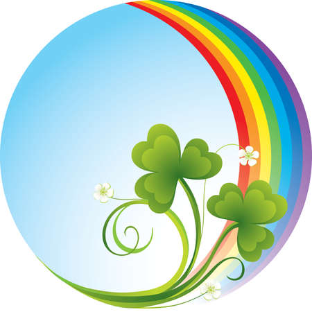 trefoil: Patrick background with rainbow and shamrock