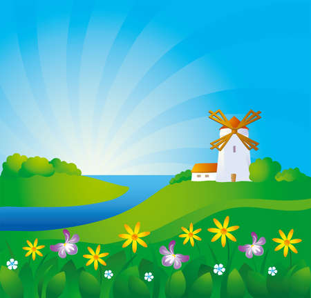 arable: Rural background with windmill  Illustration