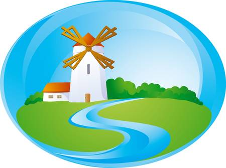 Rural background with windmill Vector