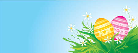 Easter banner with painted eggs  Vector