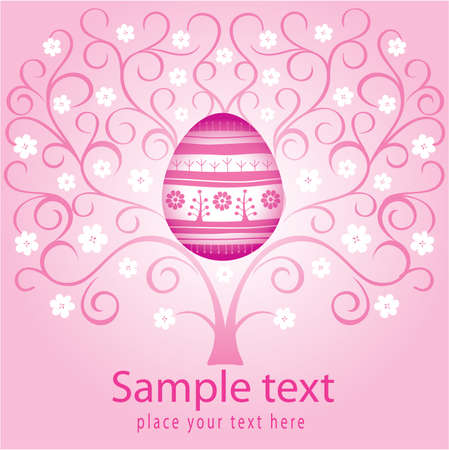 Easter card with blooming tree and decorative egg  Vector