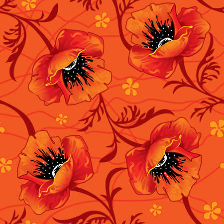 poppy leaf: Decorative seamless background with poppy